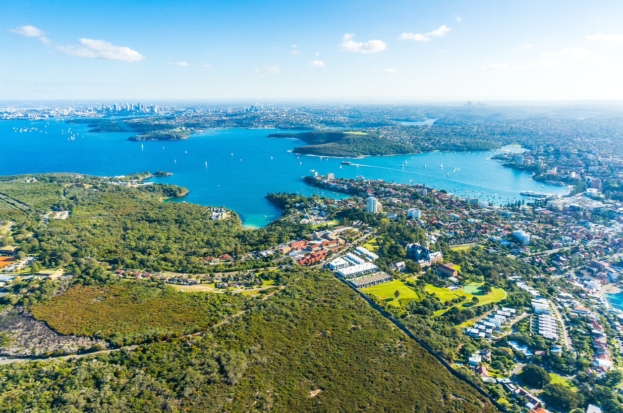 Aerial view on Sydney, Manly and Parramatta
