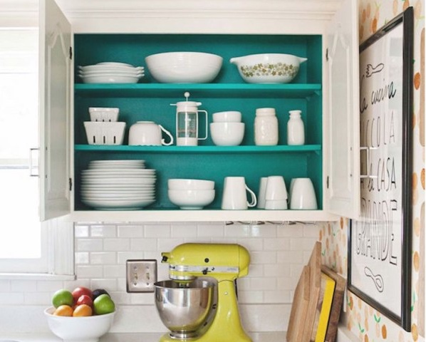 Paint the inside of cabinets for a surprise pop of colour.