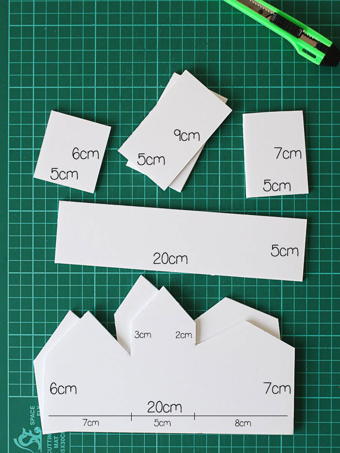 Start by cutting out all of your pieces from the foam board.