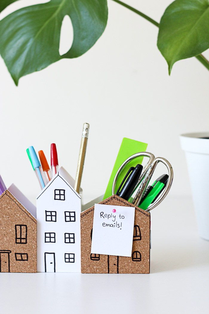 DIY desk organiser with mini cork boards for pinning notes