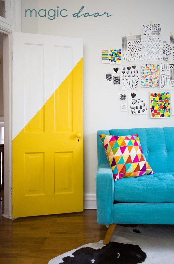Break up big, solid items with diagonal colour lines
