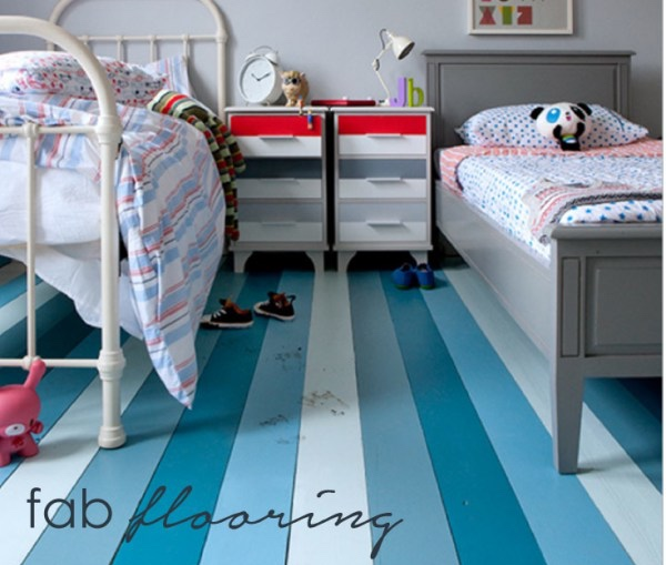 Paint the floor in your children's rooms to add colour.