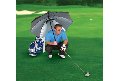 The fan umbrella will keep you cool and dry.