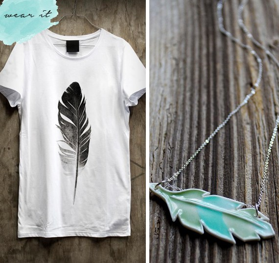 Feather shirt and whimsical ceramic feather necklace