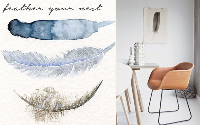 From t-shirts to wallpaper, feathers are popping up everywhere.