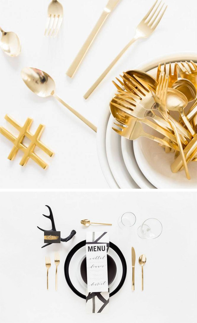 Gold flatware with black and white settings is classic and on trend