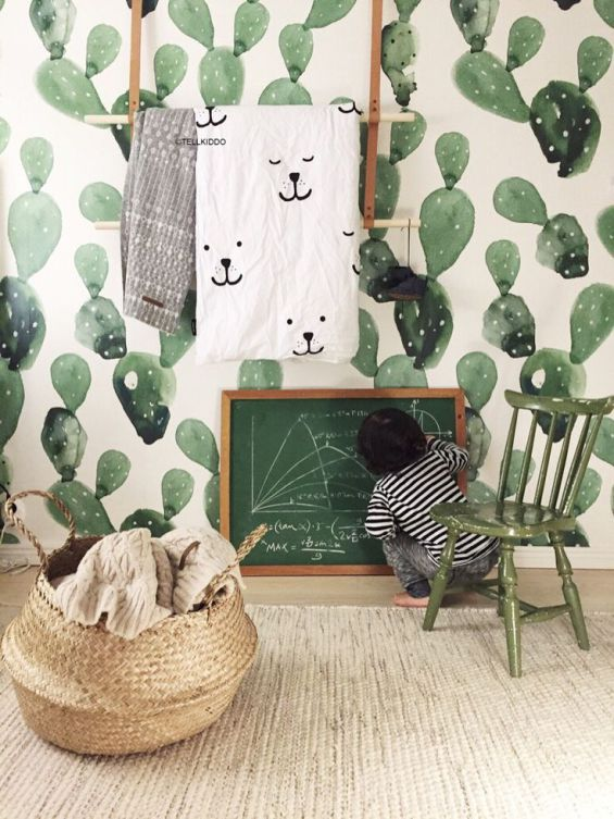 Gorgeous cactus wallpaper is great for any room that does not take itself too seriously.