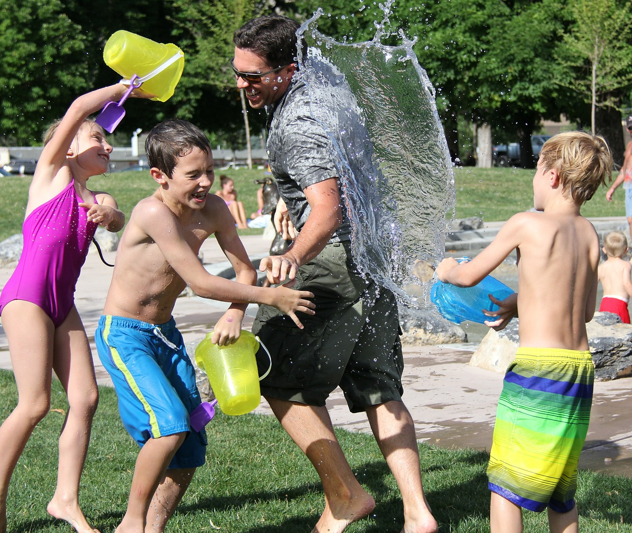Water balloon fights are a fun outdoor activity.