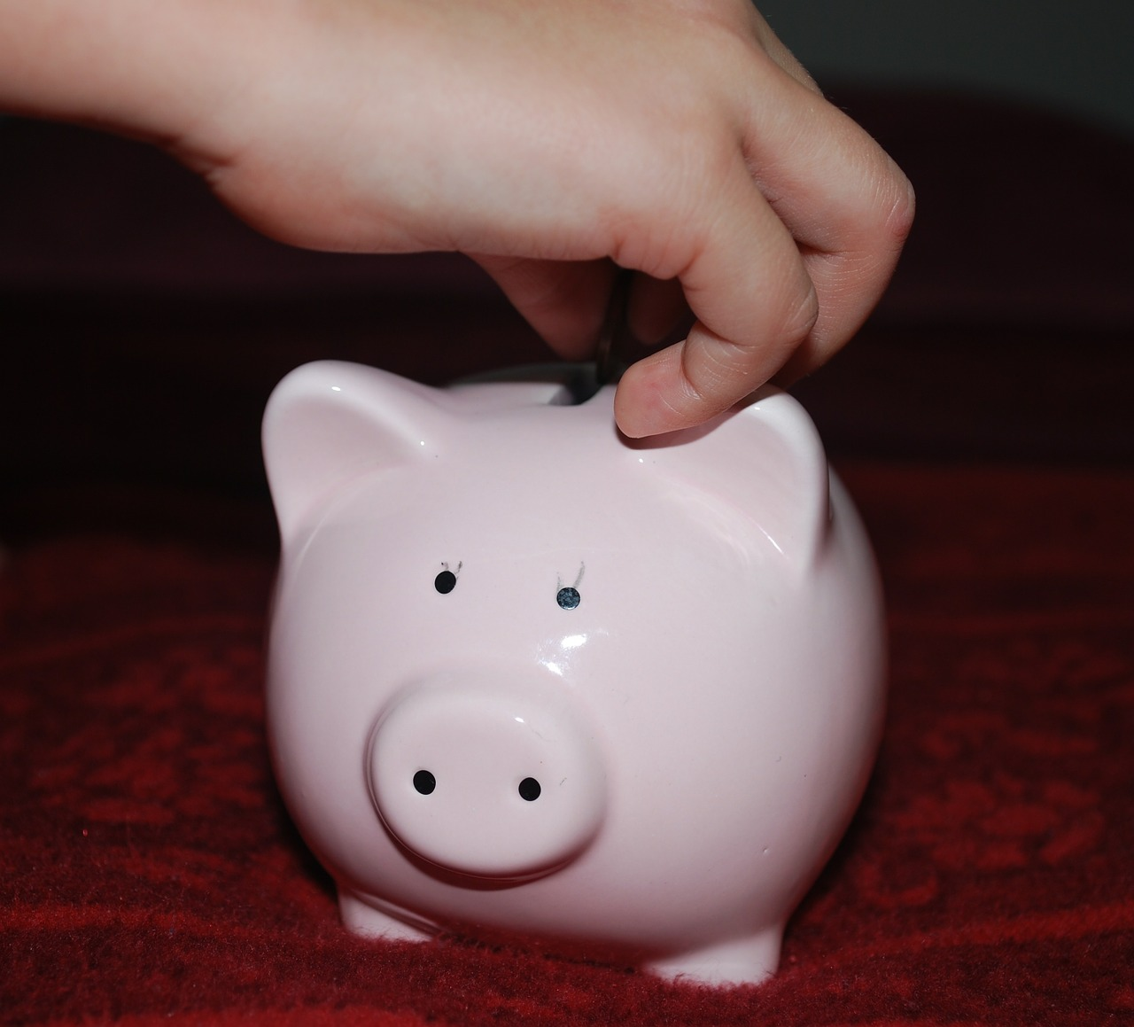Save allowance in a piggy bank.