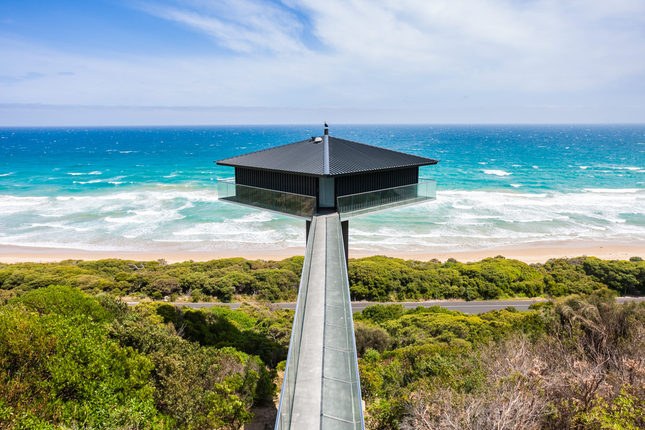 View of Fairhaven Beach and the iconic 'Pole House' on the Great Ocean Road.