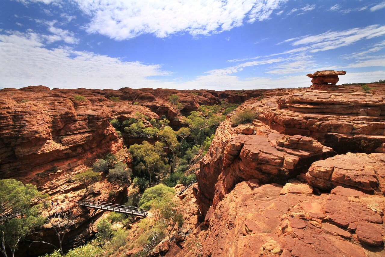 The ancient, red canyon walls