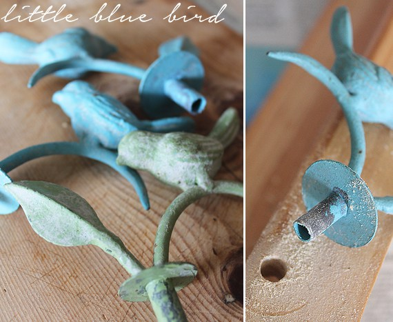 Use decorative pieces like these blue birds to update your spice rack.