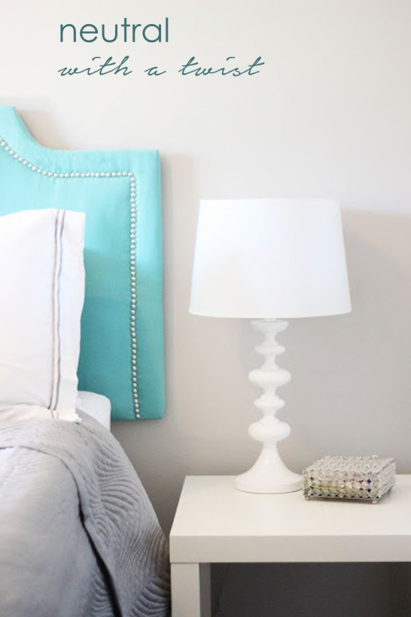 Keep big furniture items and wall neutral then add a twist with colour.