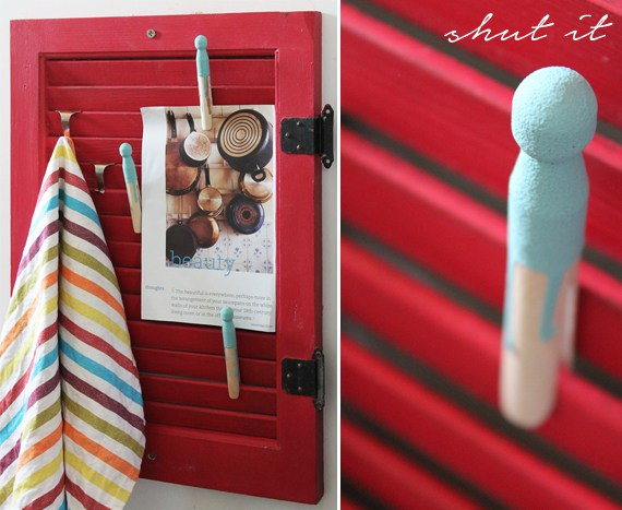 Red painted shutters in the kitchen can be multifunctional.