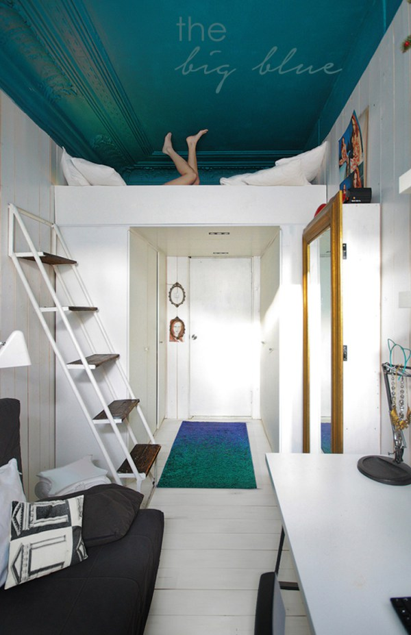 Painting the ceiling can have a great effect in small space.