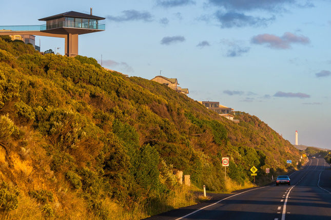 View of the 'house on a stick' from Great Ocean Road.