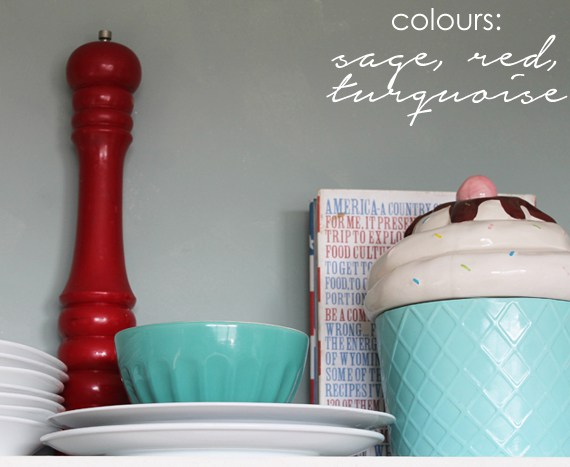 Add pops of colour like sage, red, and turquoise to the kitchen.