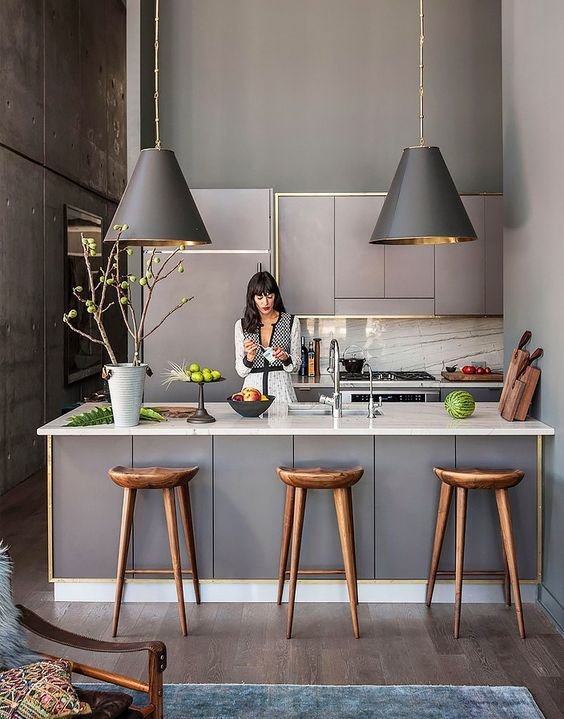 Grey kitchen with metallic interiors and various textures