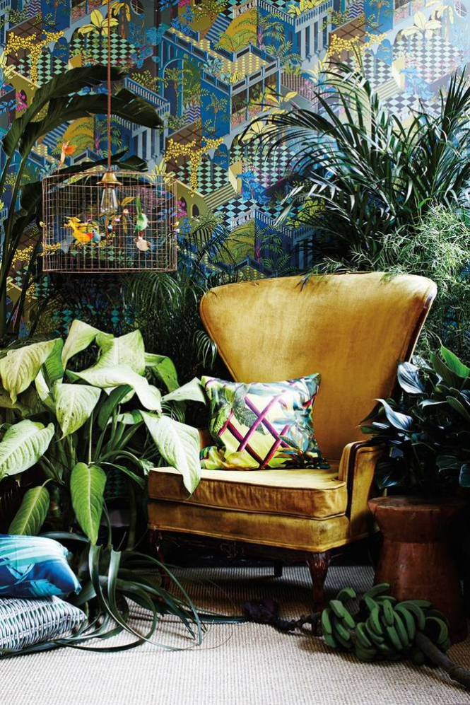 This stunning old gold velvet wing back makes a beautiful and trendy focal piece.