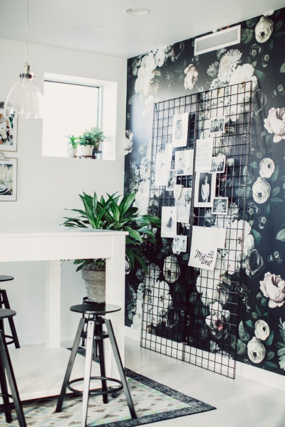 Traditional wallpaper with some clean, modern lines is a great way to update a look.