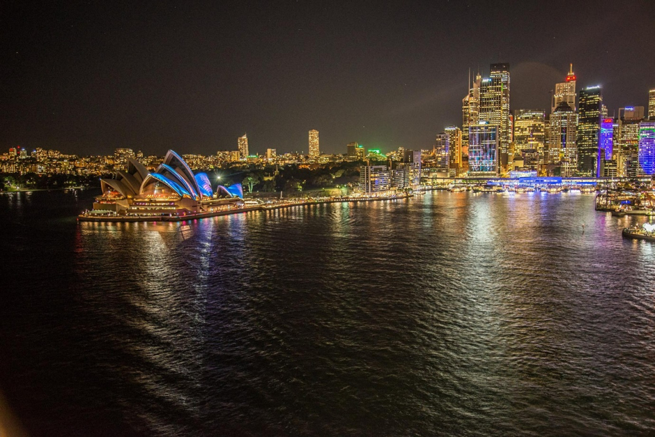 Light installations and projections bring the CBD alive during Vivid Sydney.