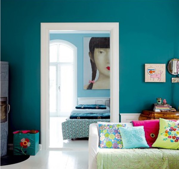 Go big with a wall in a bright shade.